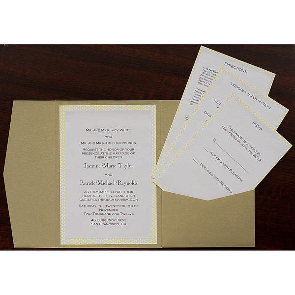 Champagne Cream Metallic Pocket Invitation Card, A7 Himalaya - Paperandmore.com