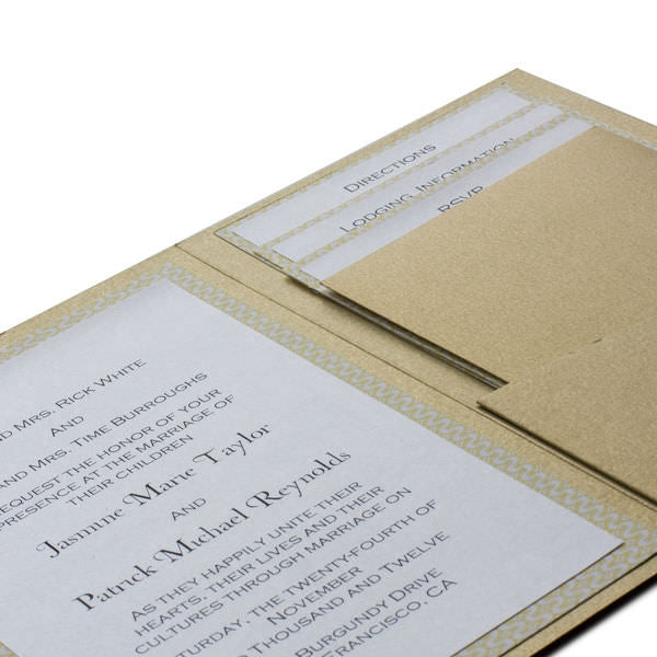 Limba White Embossed Wood Grain Pocket Invitation Card, A7 Himalaya - Paperandmore.com