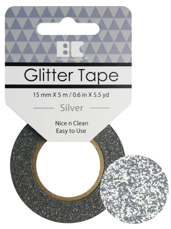 Silver Glitter Tape - 15 mm x 5.5 yd