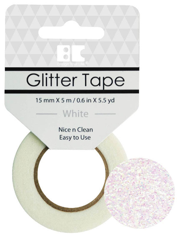 White Glitter Tape - 15 mm x 5.5 yd
