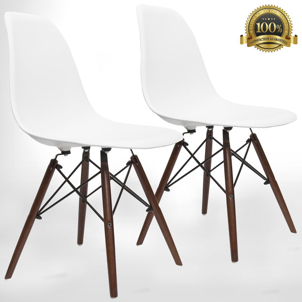 Eames Style Eiffel Dining Chair 2 Piece Dark Walnut