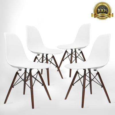 Eames Style Eiffel Dining Chair 4 Piece (Dark Walnut)