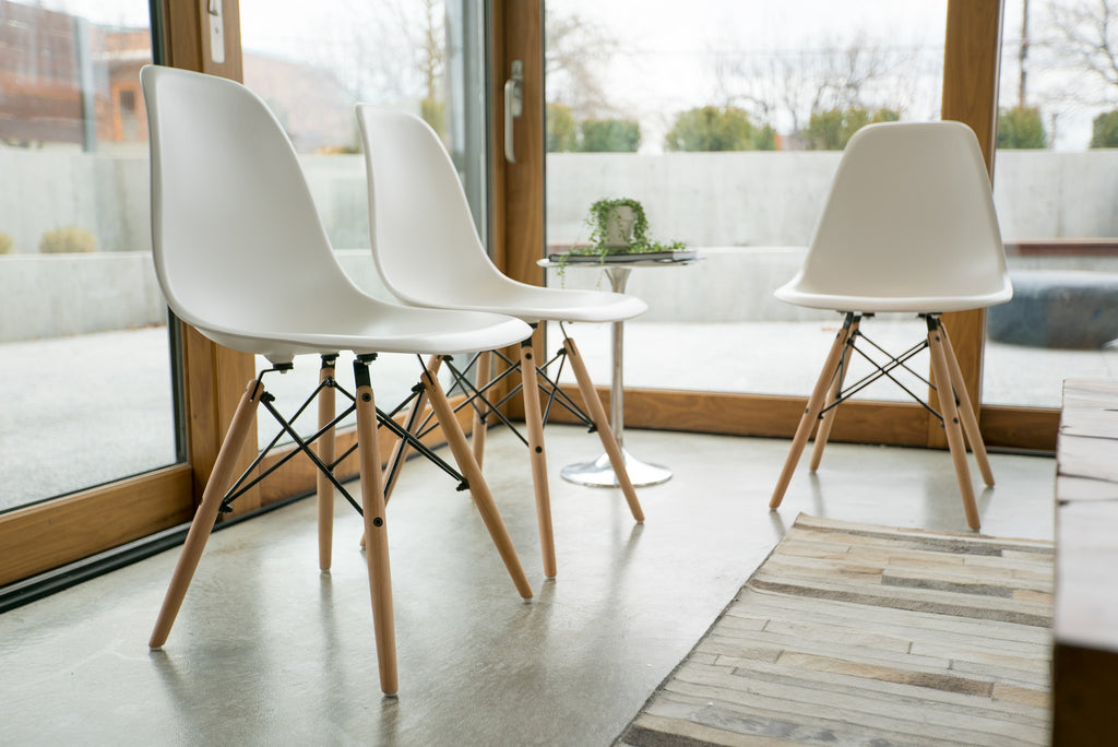 Mid Century Modern Style Chairs by UrbanMod (Set Of 4).'Easy Assemble' Modern Furniture With ErgoFlex ABS Plastic And 'One Wipe Wonder' Cleaning! Comfortable Dining Chairs Meets 5-Star Modern Chair