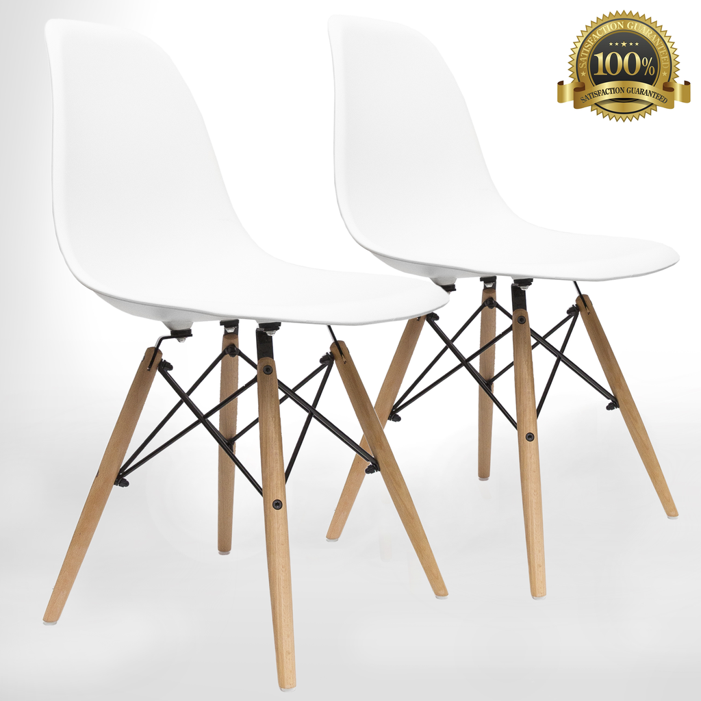 Mid Century Modern Style Chairs by UrbanMod (Set Of 2).'Easy Assemble' Modern Furniture With ErgoFlex ABS Plastic And 'One Wipe Wonder' Cleaning! Comfortable Dining Chairs Meets 5-Star Modern Chair