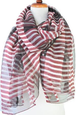 Red & White Stripe Silk With Wool Scarf