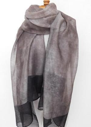 Black and Gray Silk & Wool Marble Scarf