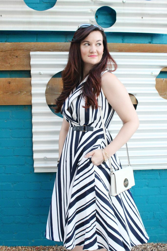 Striped Pocket Dress and Blue Wall - 6