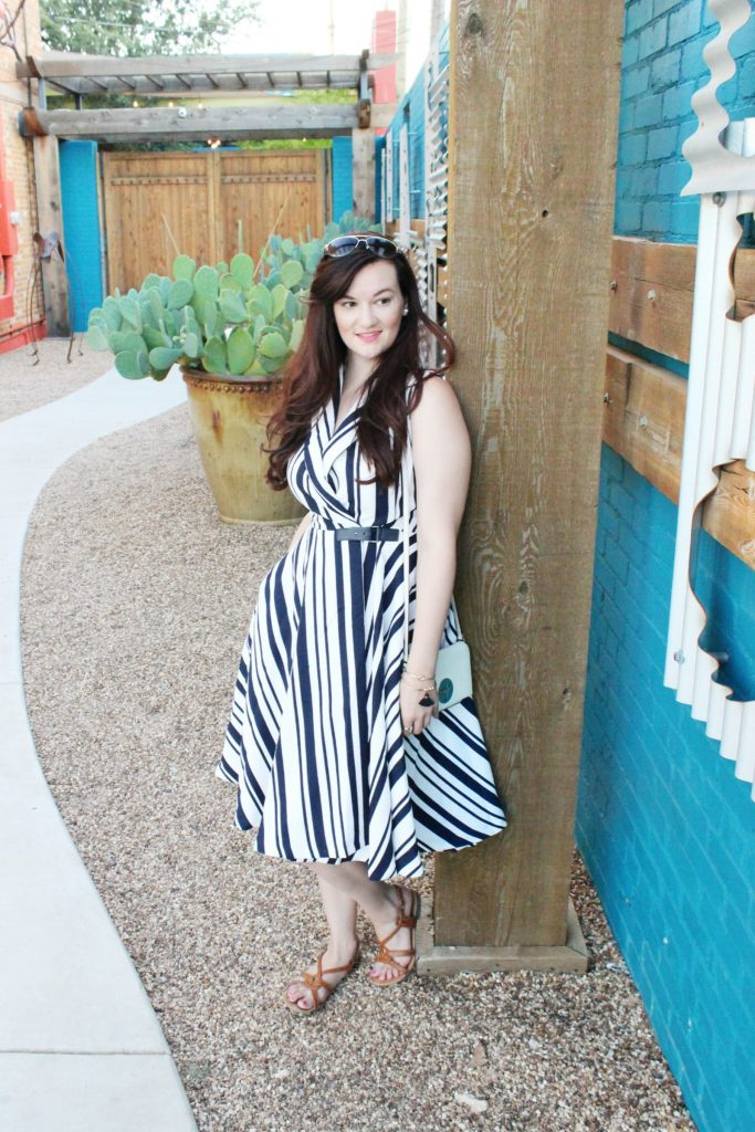 Striped Pocket Dress and Blue Wall - 7