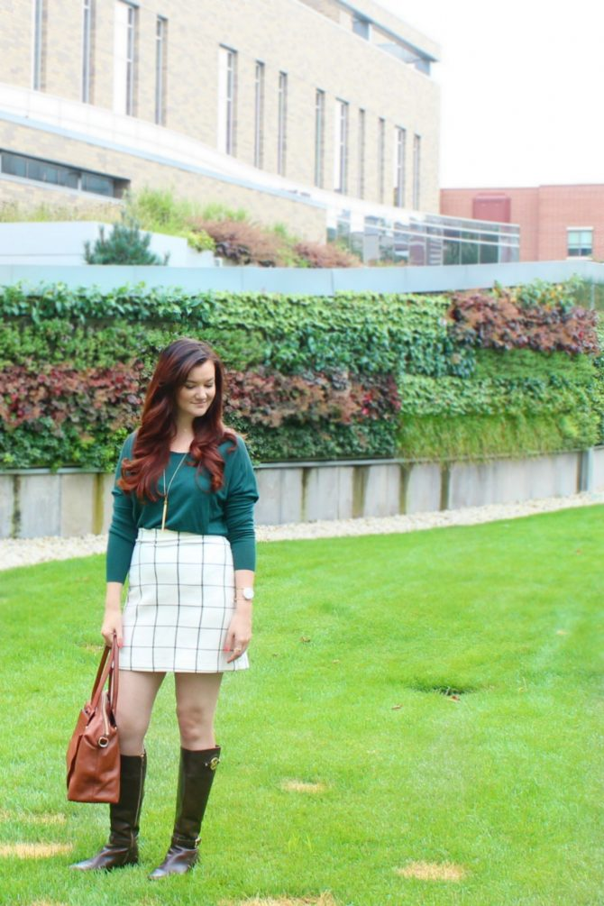 green-sweater-and-plaid-skirt-1