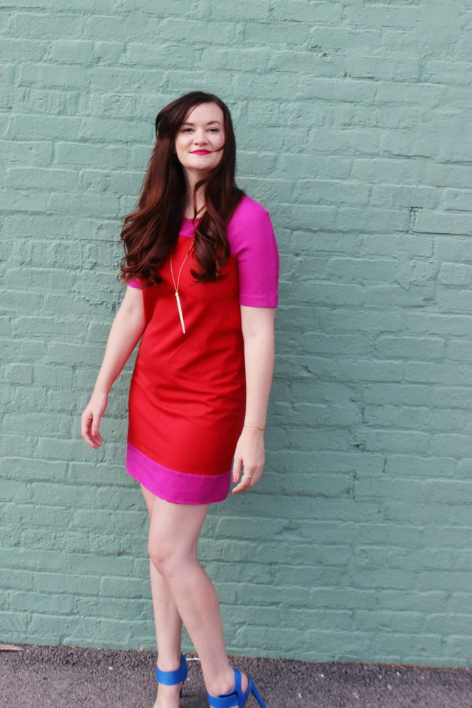red and purple dress and mint wall - 2