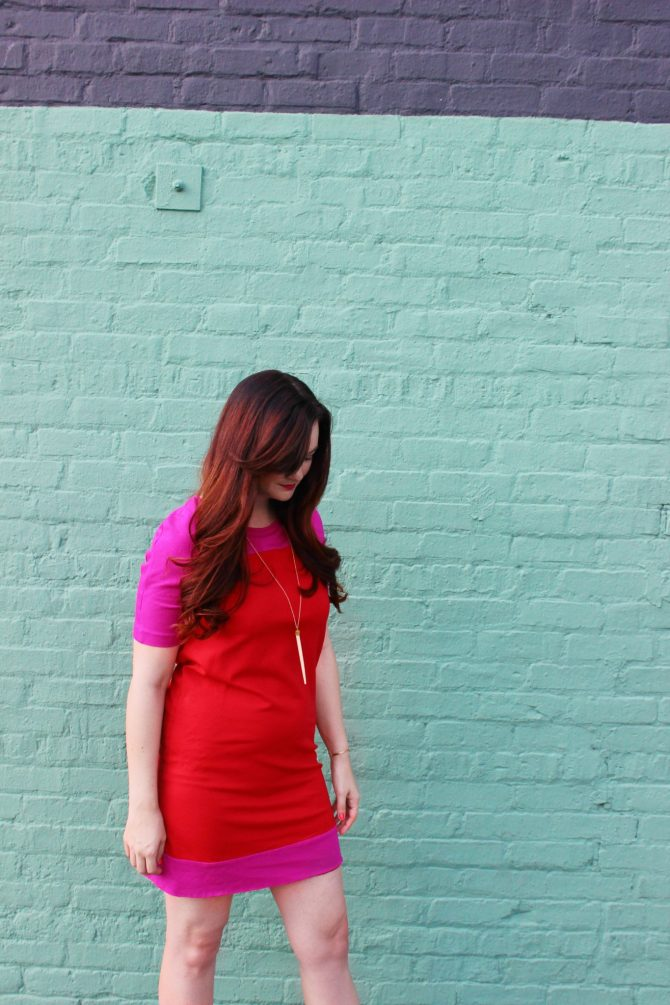 red and purple dress and mint wall - 5