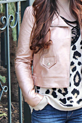 Alicia Rose Gold Moto Jacket