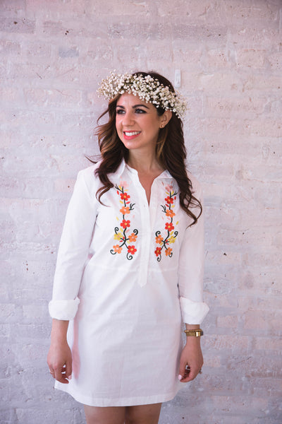 Shai Floral Embroidered Shirt Dress