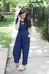 Kai Navy Cutout Jumpsuit
