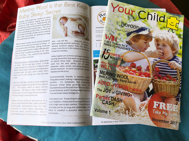 Magazine 'Your Child in Boroondara' publishes our Merino Wool article