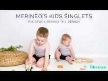 Load and play video in Gallery viewer, Video showing our Merineo Kids Singlets made from superfine merino wool.