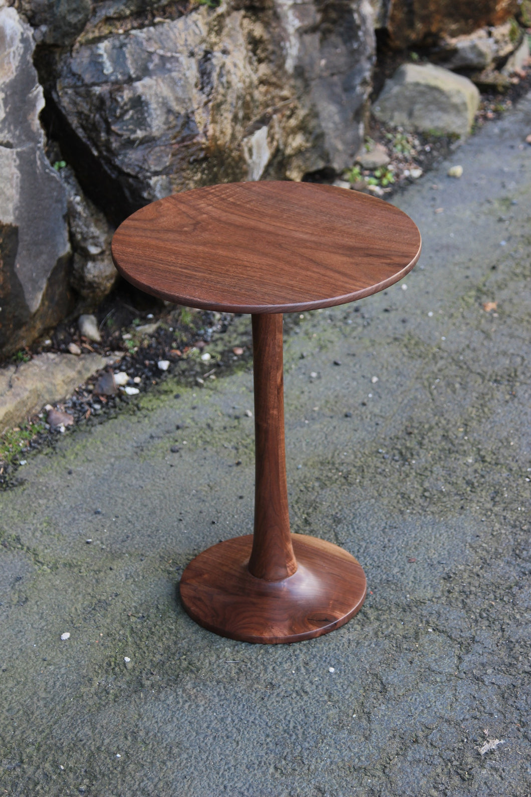 Circular Black Walnut Side Table