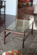 Glass-Topped Mid-Century Walnut Coffee Table