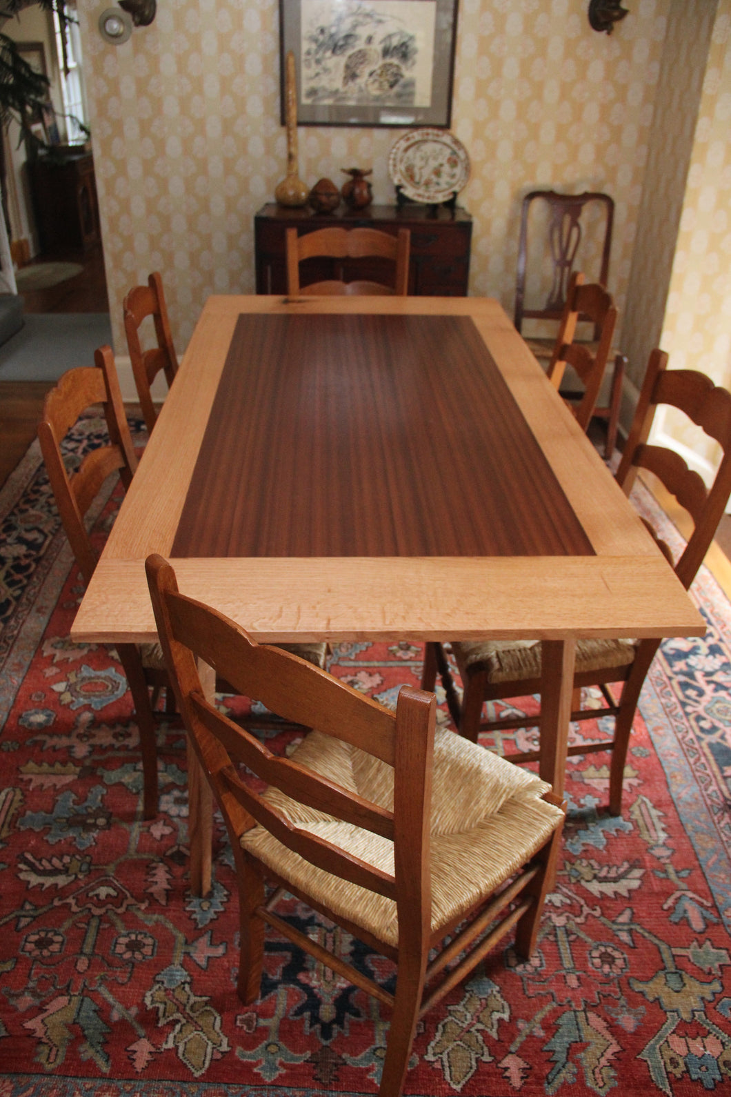 Oak and Mahogany Dining Table (custom)