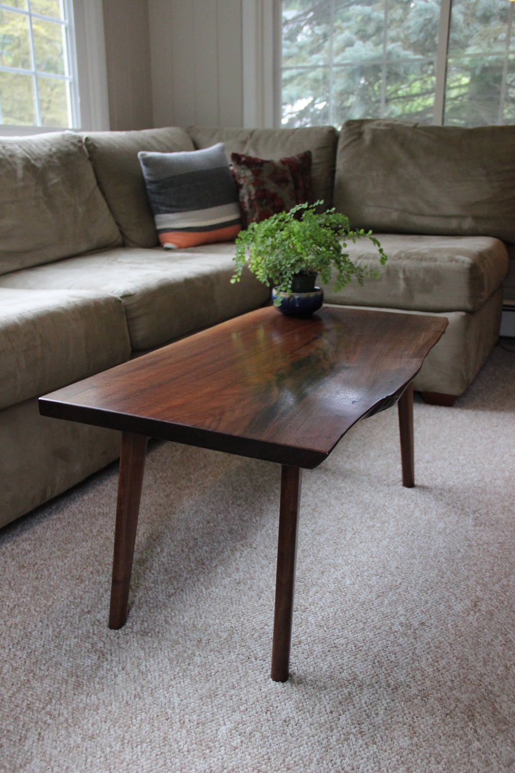 Small Mid-Century Live-Edge Coffee Table