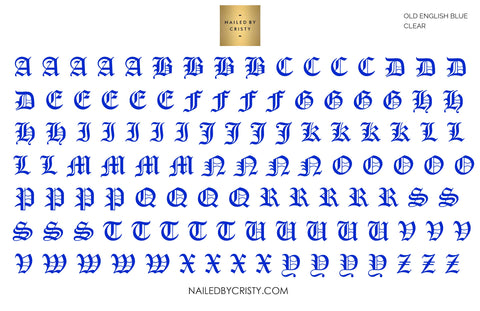 Decals- Blue Old English A-Z Uppercase CLEAR
