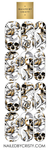 Decals- Floral Gold Skull