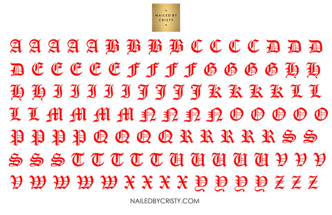 Decals- Red Old English A-Z Uppercase CLEAR