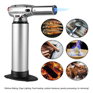 Professional Stainless Steel Butane Torch Refillable Culinary Torch Flame Adjustable For Cooking Without Gas