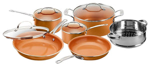 Gotham Steel 10-Piece Kitchen Set with Non-Stick Ti-Cerama Coating by Chef Daniel Green - Includes Skillets, Fry Pans, Stock Pot