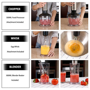 BESTEK Immersion Hand Blender 4-in-1 2 Speed 350W Smart Stick Hand Mixer Set with Food Chopper Attachment, Whisk, Stainless Stee