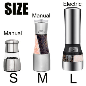 Salt and Pepper Grinder Mills,2 in 1 Stainless Steel Salt Pepper Mill Grinder Seasoning Pepper Grinder Grinding Cooking Restaura