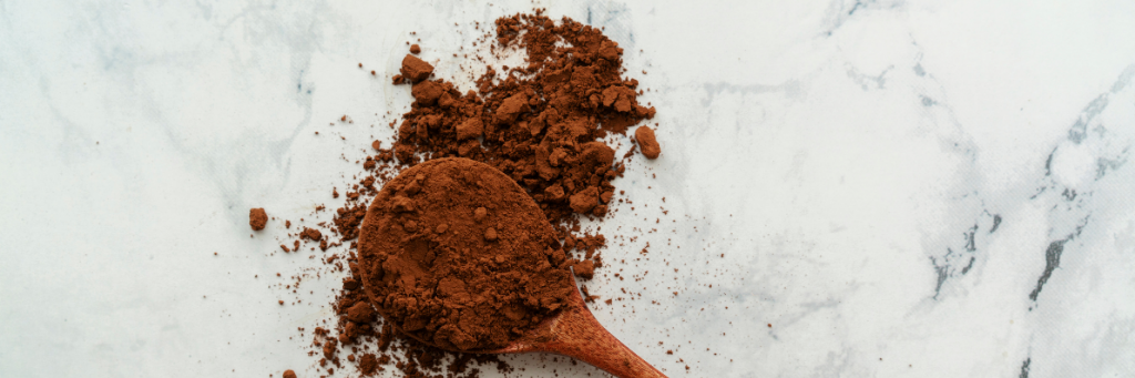 A spoonful of cocoa powder