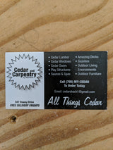 Cedar and Carpentry business card