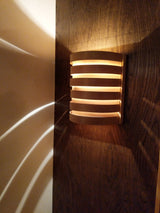 Beautiful light reflection from these handcrafted cedar lights