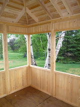 Looking out of this 12x12 gazebo adds a ceiling perspective.