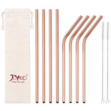 Rosegold Stainless Steel Straw Set (8-Pack)