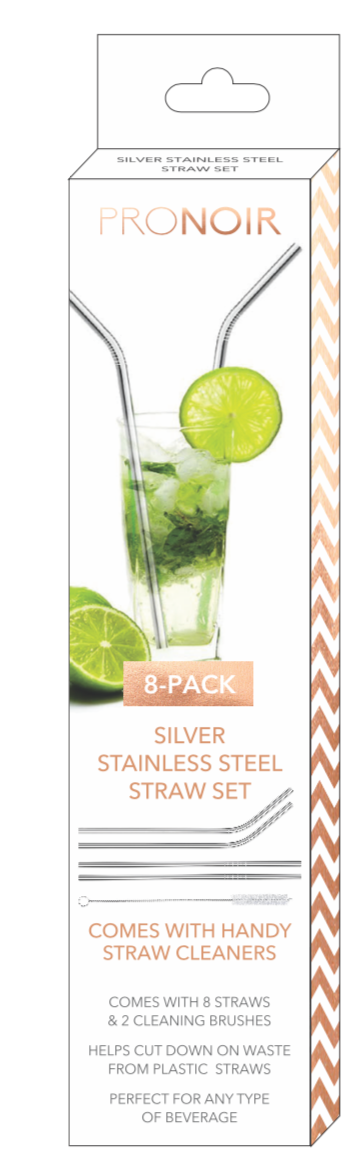 Silver Stainless Steel Straw Set (8-Pack)
