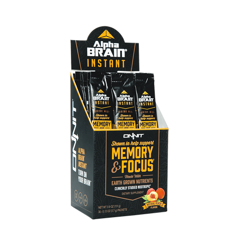 Onnit Labs Alpha Brain Instant Natural Peach 30 Count Box