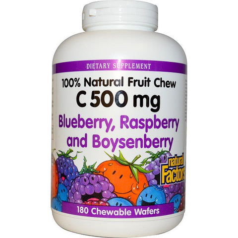 VITAMIN C 500 MG BLUEBERRY, RASPBERRY, AND BOYSENBERRY 180 CHEWABLE WAFERS