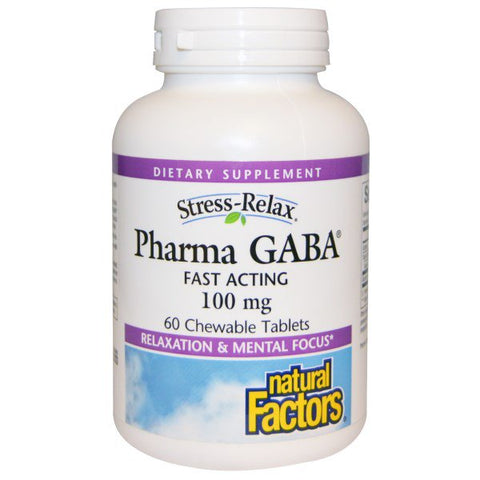 STRESS-RELAX PHARMA GABA 100 MG 60 CHEWABLE TABLETS