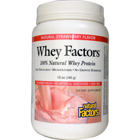 WHEY FACTORS 100% NATURAL WHEY PROTEIN STRAWBERRY 12 OZ