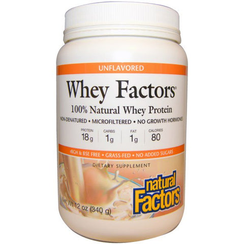 WHEY FACTORS 100% NATURAL WHEY PROTEIN UNFLAVORED 12 OZ