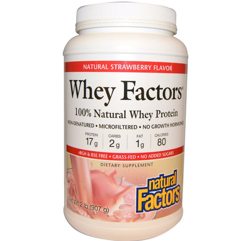 WHEY FACTORS 100% NATURAL WHEY PROTEIN STRAWBERRY 2 LBS