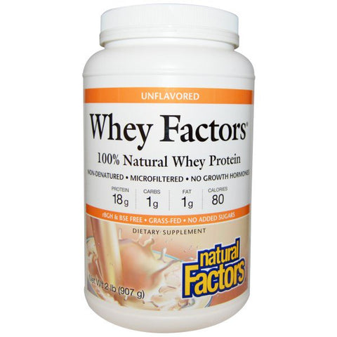 WHEY FACTORS 100% NATURAL WHEY PROTEIN, UNFLAVORED 2 LB