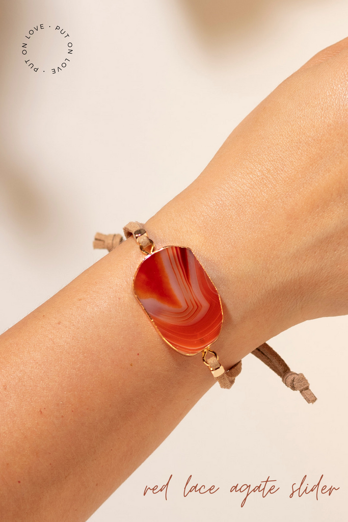 Red Lace Agate slider bracelet to diffuse your essential oils all day!