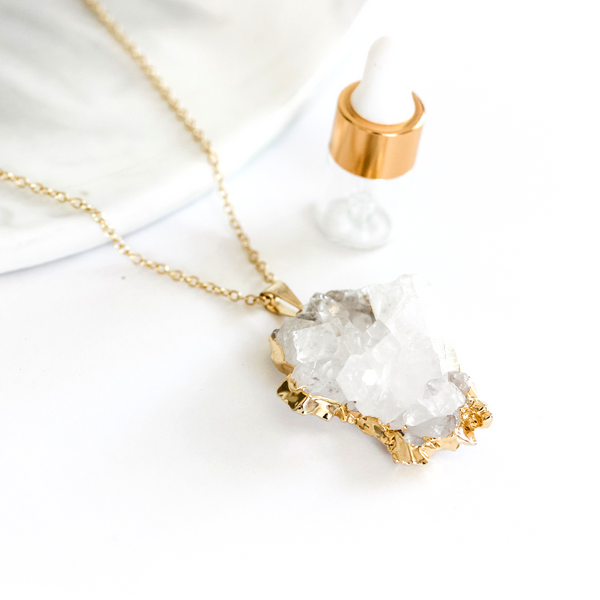 Clear and Smokey Quartz Clusters- Long Gemstone Diffuser Necklace