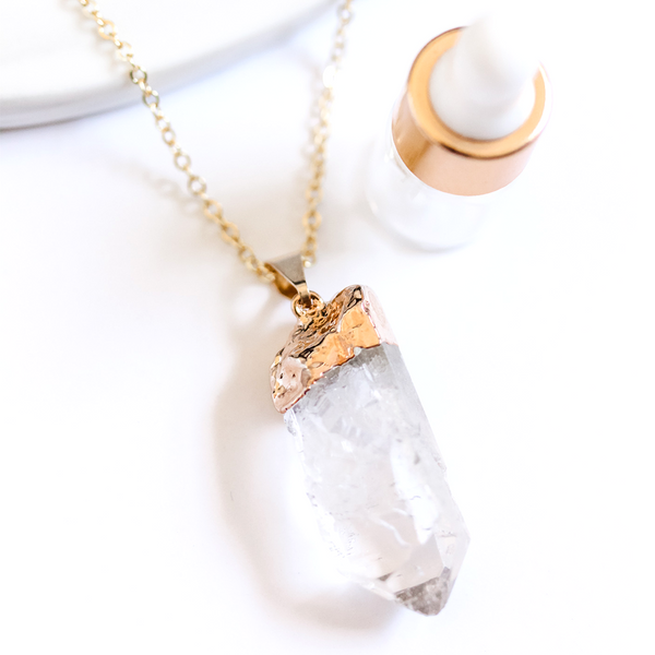 Clear Quartz Long Gemstone Diffuser Necklace