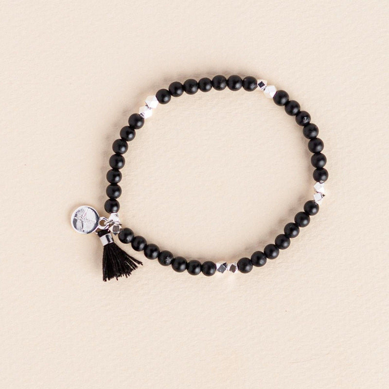 Matte Black Tourmaline Gemstone Affirmation Bead Bracelet
