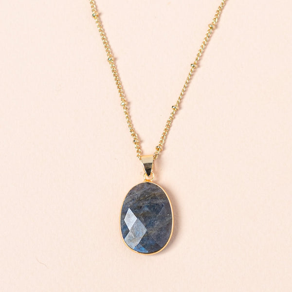 Labradorite Mid Length Gemstone Diffuser Necklace