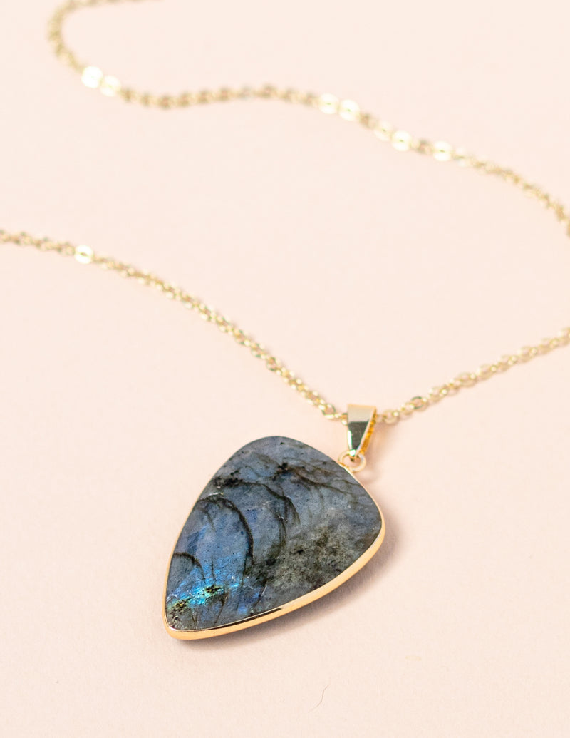Labradorite Faceted Long Gemstone Diffuser Necklace